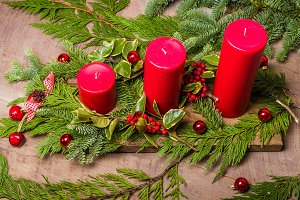 Red candle Christmas decoration