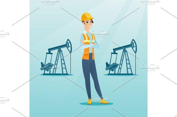 Cnfident Oil Worker Vector Illustration