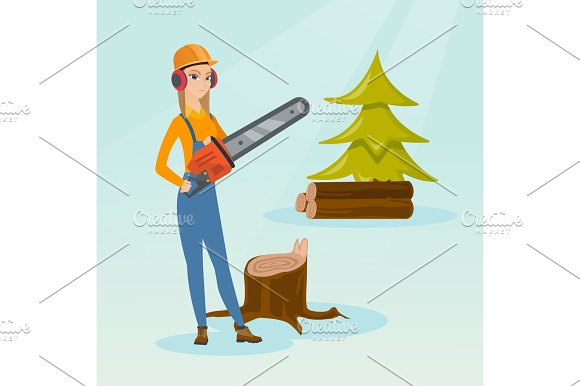 Lumberjack With Chainsaw Vector Illustration