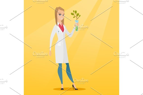 Scientist With Test Tube Vector Illustration