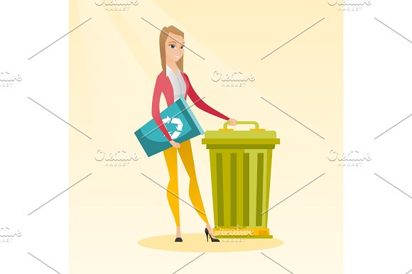 Woman With Recycle Bin And Trash Can