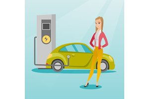 Charging of electric car vector illustration.