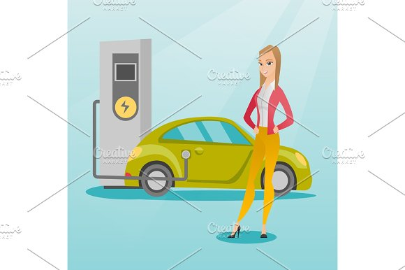 Charging Of Electric Car Vector Illustration