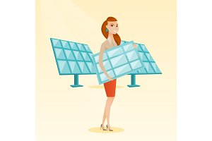 Woman holding solar panel vector illustration.