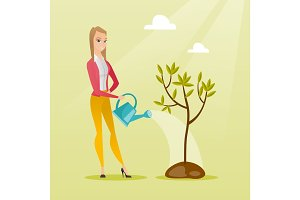 Woman watering tree vector illustration.