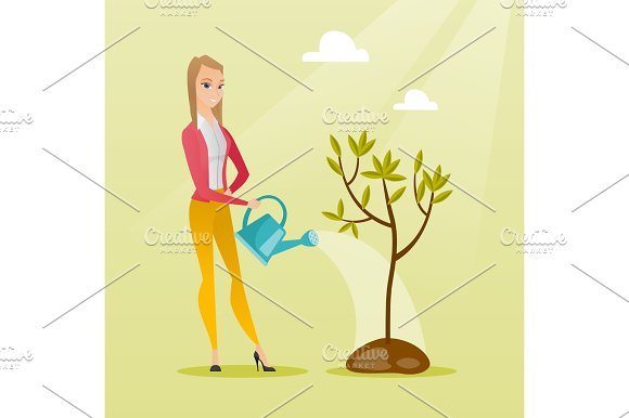 Woman Watering Tree Vector Illustration