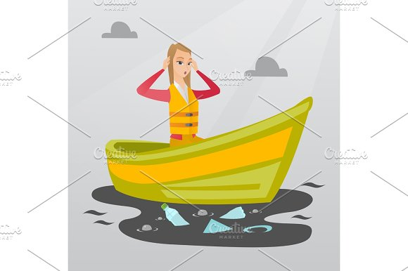 Woman Floating In A Boat In Polluted Water