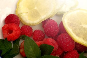 Raspberries and lemon