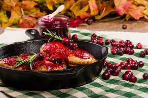 Cranberries and cranberry glaze