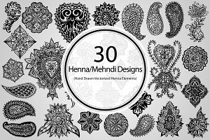 30 Henna/Mehndi Designs (Vector)