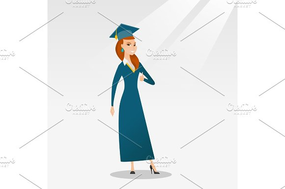 Graduate Giving Thumb Up Vector Illustration