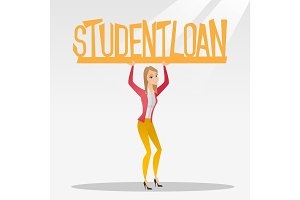 Woman holding sign of student loan.