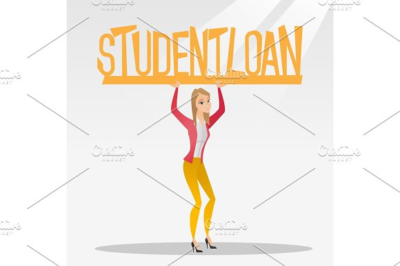 Woman Holding Sign Of Student Loan