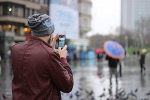 People take photos