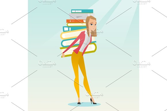 Student With Pile Of Books Vector Illustration