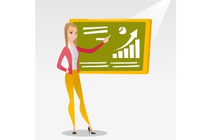 Woman writing on a chalkboard vector illustration.