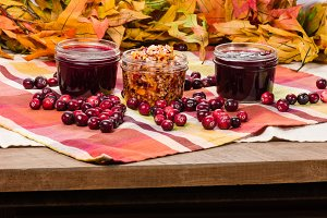 Cranberry sauce on a table