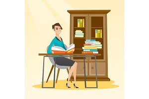 Student reading book vector illustration.