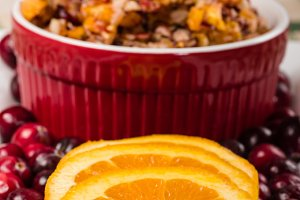 Cranberries and orange slices