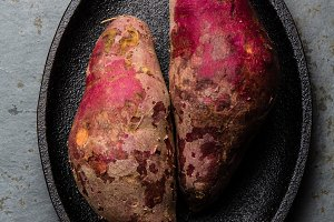 Peruvian raw sweet potatoes camote batata. Top view
