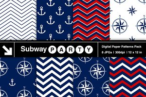 Nautical Navy & Red Papers