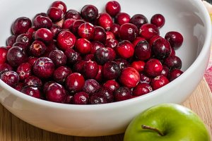 Red cranberries in bowl