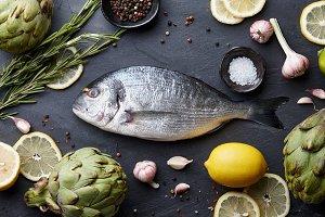 Sea bream fish cooking
