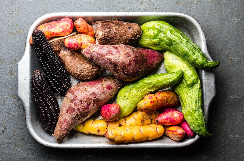 Fresh peruvian Latin American vegetables caigua, sweet ...