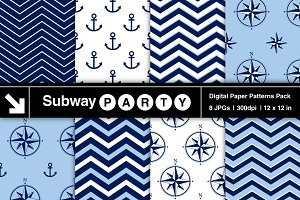 Nautical Navy, Blue & White Papers