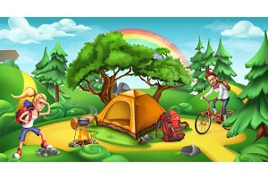 Camping and adventure time, vector