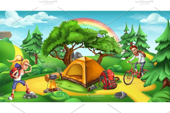 Camping And Adventure Time Vector