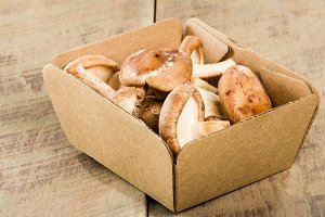 Portobella mushrooms in box