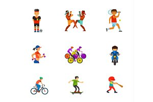 Athletes icon set