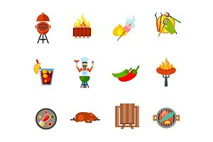 Barbecue icon set
