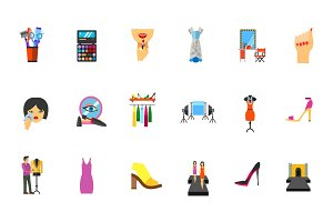 Beauty industry icon set