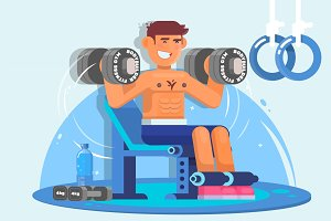Weightlifter training with dumbbell. Flat style vector illustration