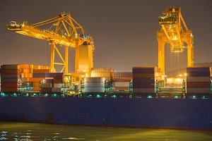 Barcelona industrial port at night