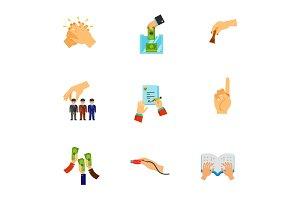 Hand gesture icon set