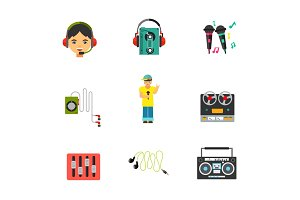Music equipment icon set