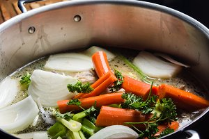 Stock pot with soup