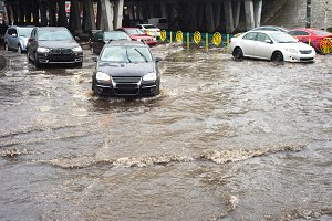 Urban flood in city