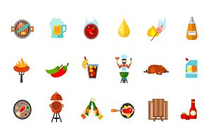Picnic party icon set