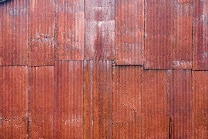 Red rusty metal siding