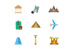 Travelling for sightseeing icon set