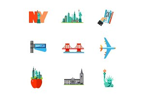 Travelling to New York icon set