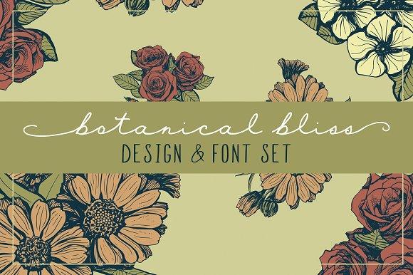 Botanical Bliss Design Font Set
