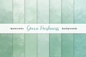 Green Ombre Watercolor Backgrounds