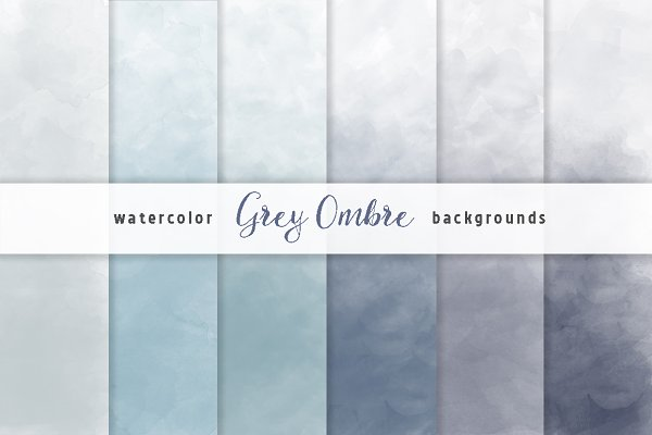 Grey Ombre Watercolor Backgrounds