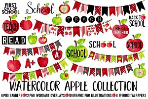Watercolor- Apple Me Teacher Clip Ar
