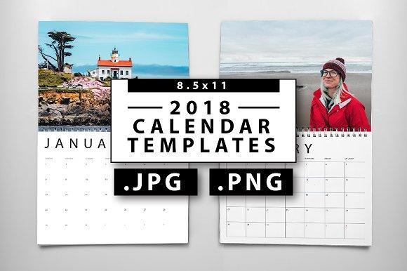 2018 JPG PNG Calendar Templates